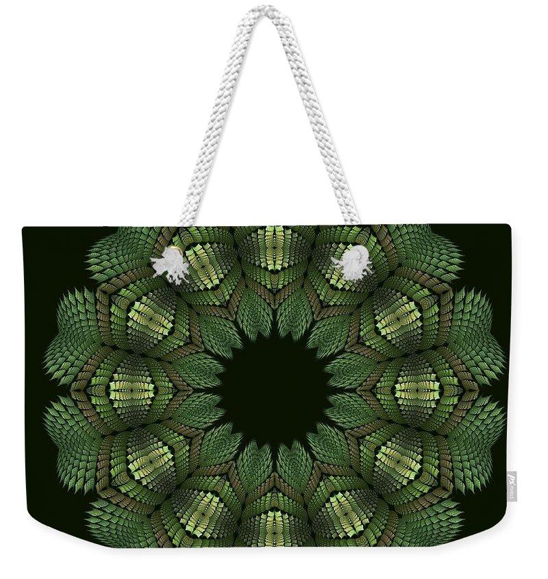 T-shirt Design Weekender Tote Bag featuring the digital art Fractal Wreath-32 Spring Green T-shirt by Doug Morgan