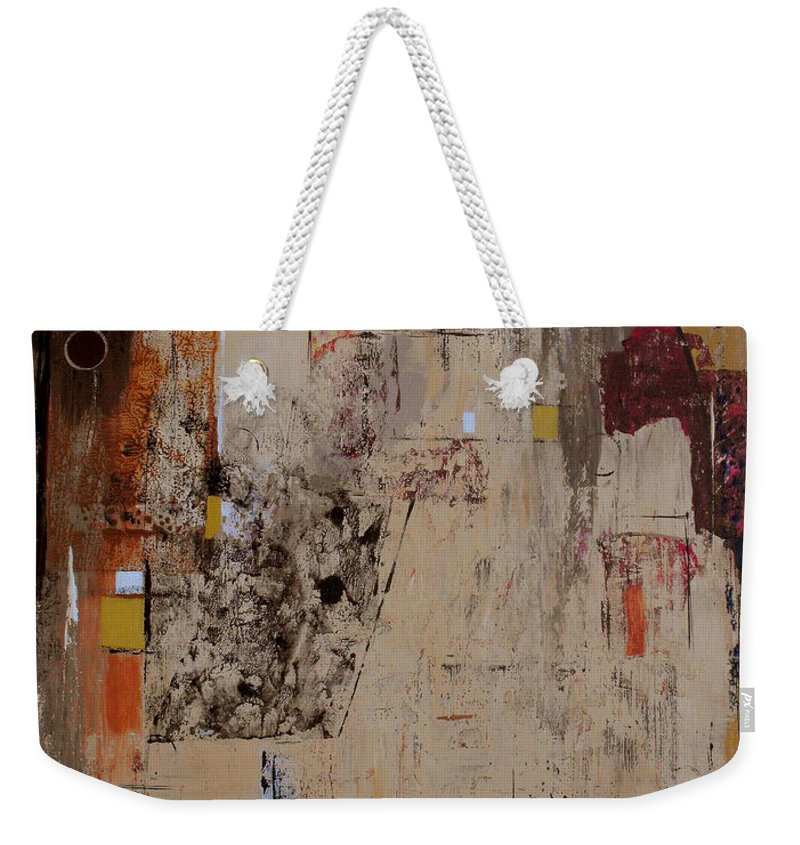Abstract Weekender Tote Bag featuring the painting Fractions by Ruth Palmer