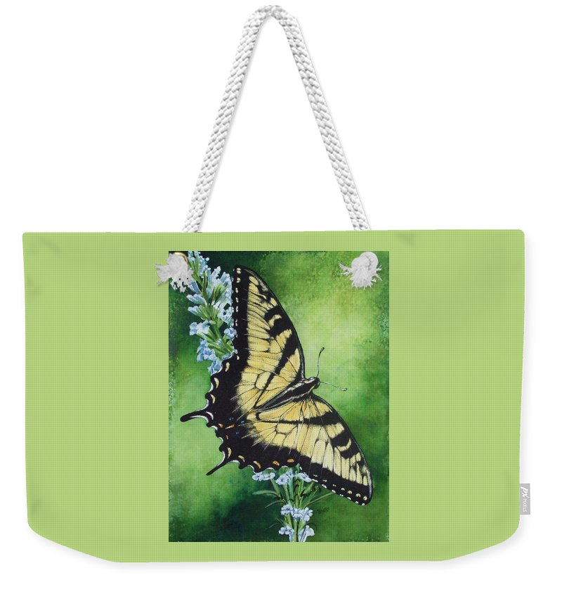 Bugs Weekender Tote Bag featuring the mixed media Fragile Beauty by Barbara Keith