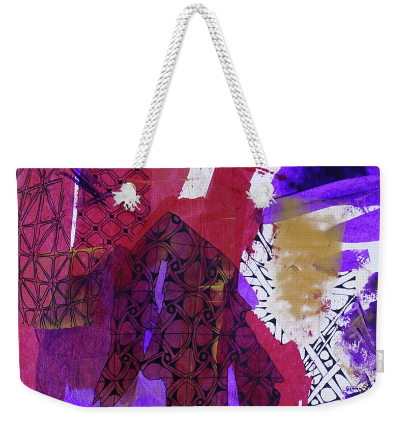 Abstract Weekender Tote Bag featuring the mixed media Fragmented by Sherri Hanna