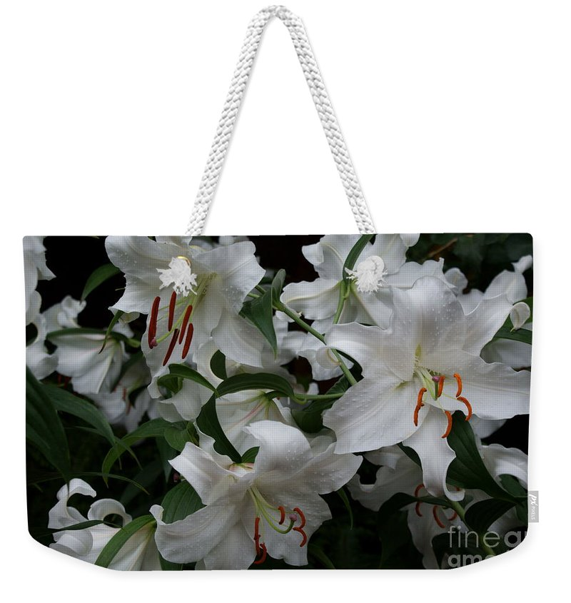 White Lilies Floral Weekender Tote Bag featuring the photograph Fragrant Beauties by Joanne Smoley