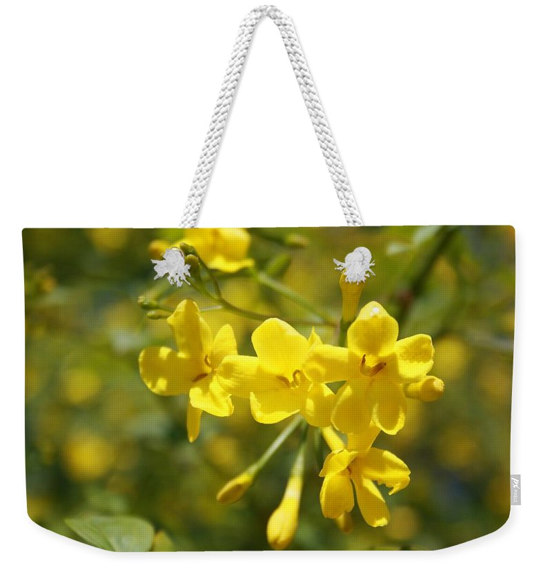 Carolina Weekender Tote Bag featuring the photograph Fragrant Yellow Flowers Of Carolina Jasmine by Taiche Acrylic Art