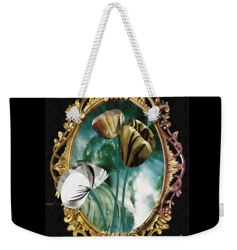 Floral Weekender Tote Bag featuring the mixed media Framed Flowers by Sarah Loft