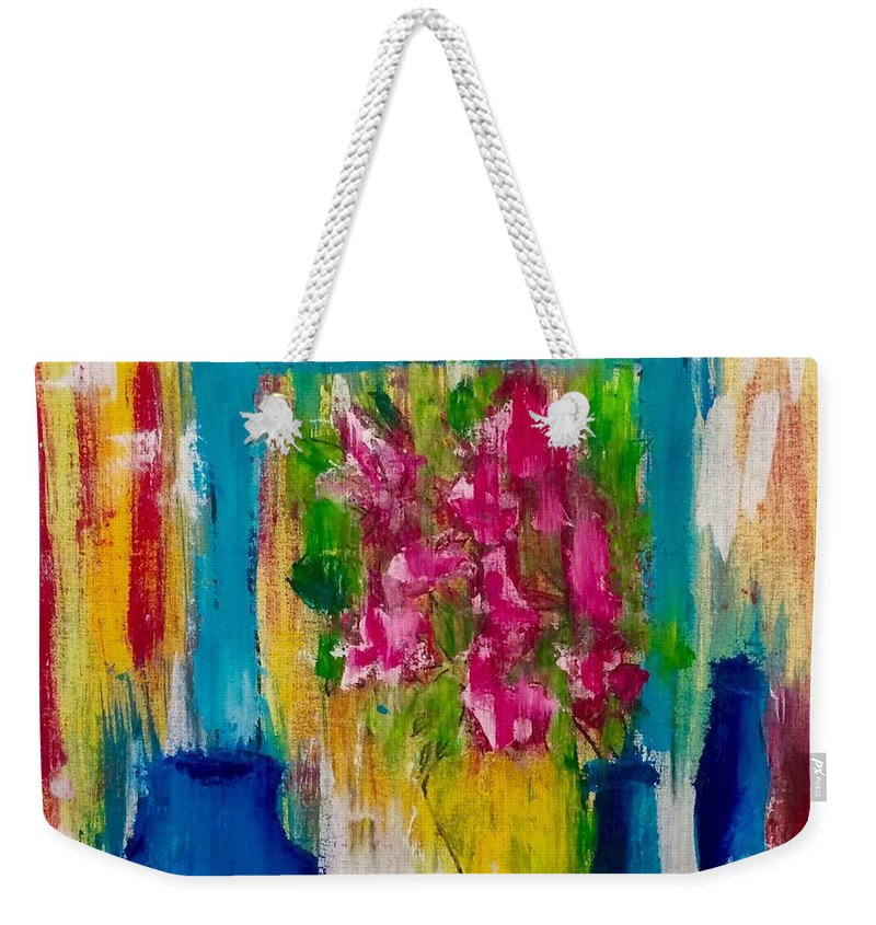Flowers Weekender Tote Bag featuring the painting Framing Petals by Eve Schambach