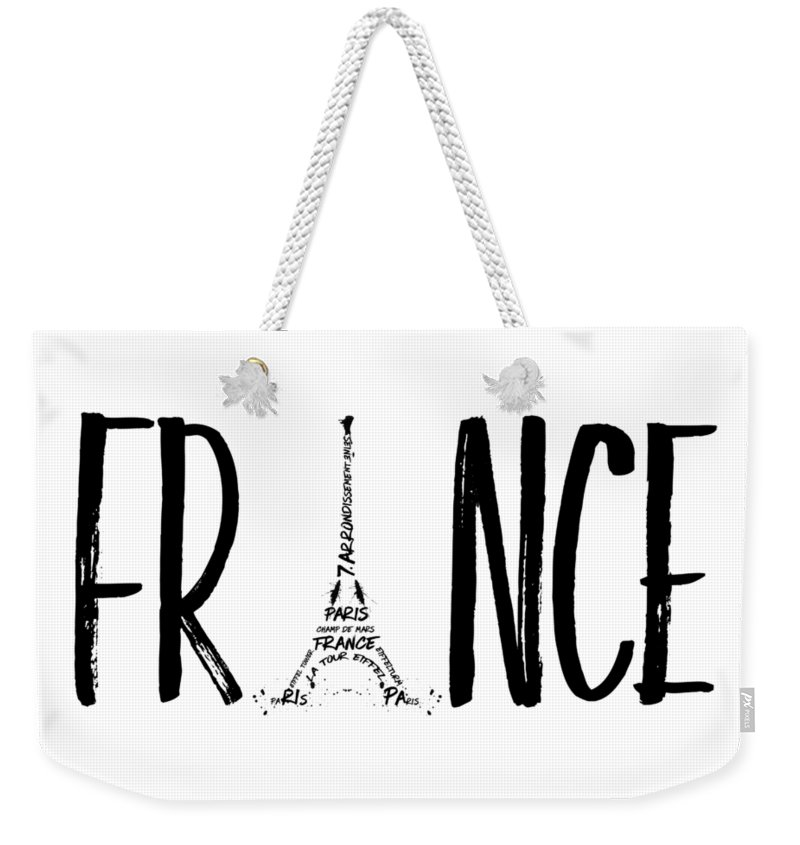 Paris Weekender Tote Bag featuring the digital art France Typography by Melanie Viola
