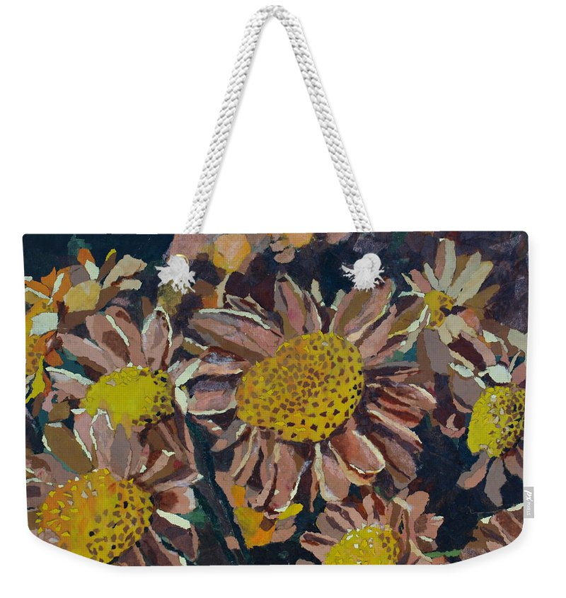 Recycle Weekender Tote Bag featuring the painting Francescas Mums by Leah Tomaino