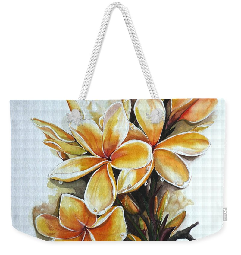 Caribbean Paintings Flower Paintings Floral Paintings  Weekender Tote Bag featuring the painting Frangipangi  Sold by Karin Dawn Kelshall- Best