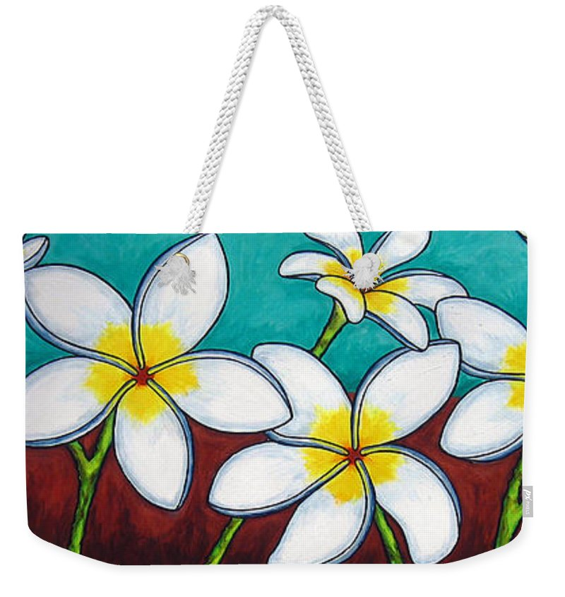Frangipani Weekender Tote Bag featuring the painting Frangipani Delight by Lisa Lorenz