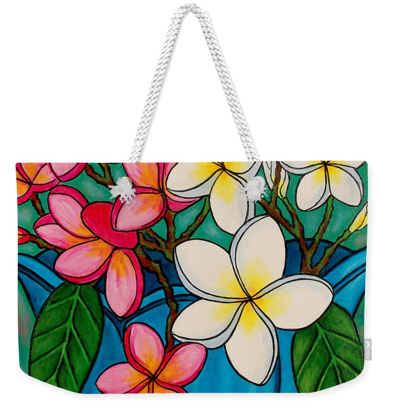 Frangipani Weekender Tote Bag featuring the painting Frangipani Sawadee by Lisa Lorenz