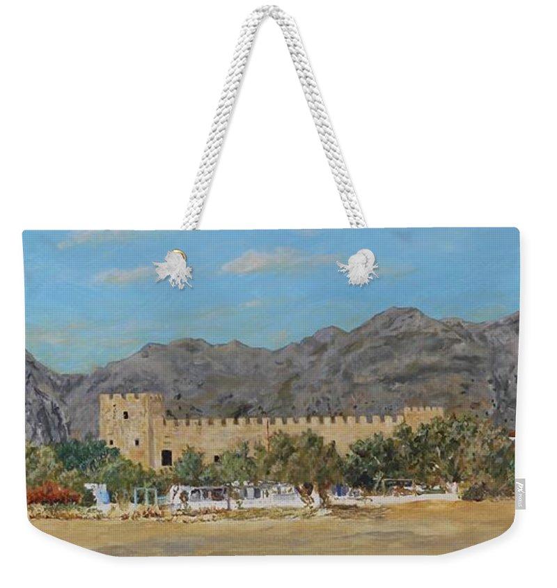 Frangokastello Weekender Tote Bag featuring the painting Frangokastello Castle - Southern Crete by David Capon