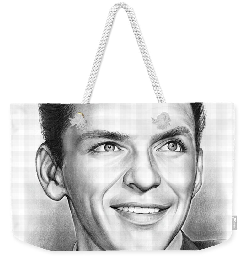 Frank Sinatra Weekender Tote Bag featuring the drawing Frank Sinatra by Greg Joens