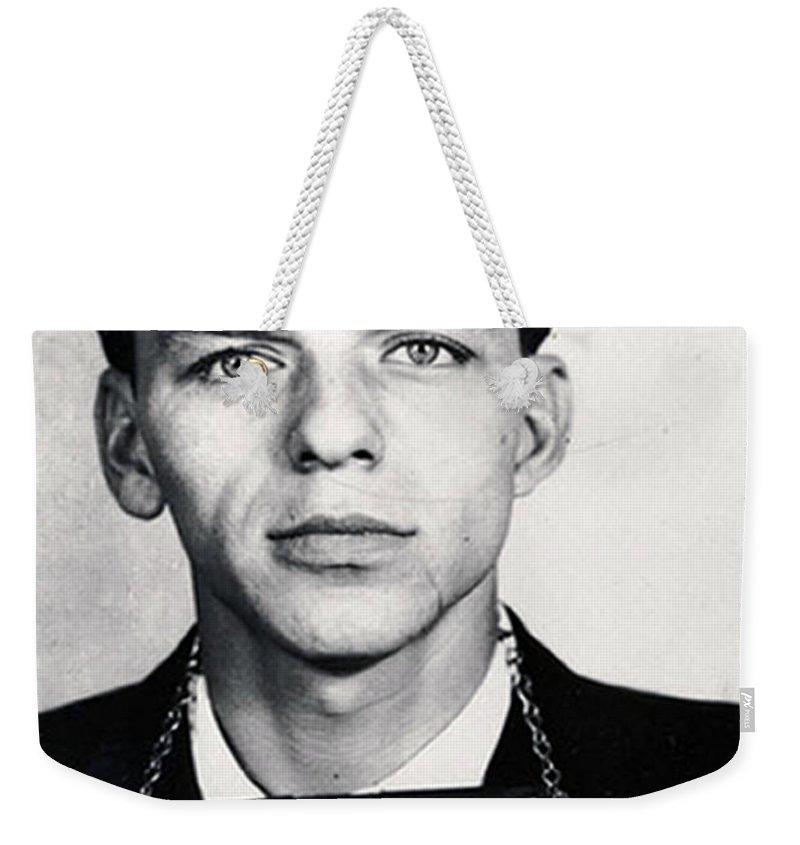Frank Sinatra Weekender Tote Bag featuring the painting Frank Sinatra Mug Shot Vertical by Tony Rubino