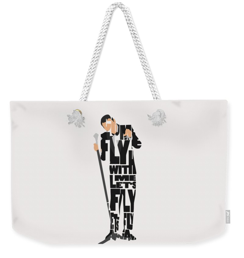 Frank Weekender Tote Bag featuring the painting Frank Sinatra Typography Art by Inspirowl Design