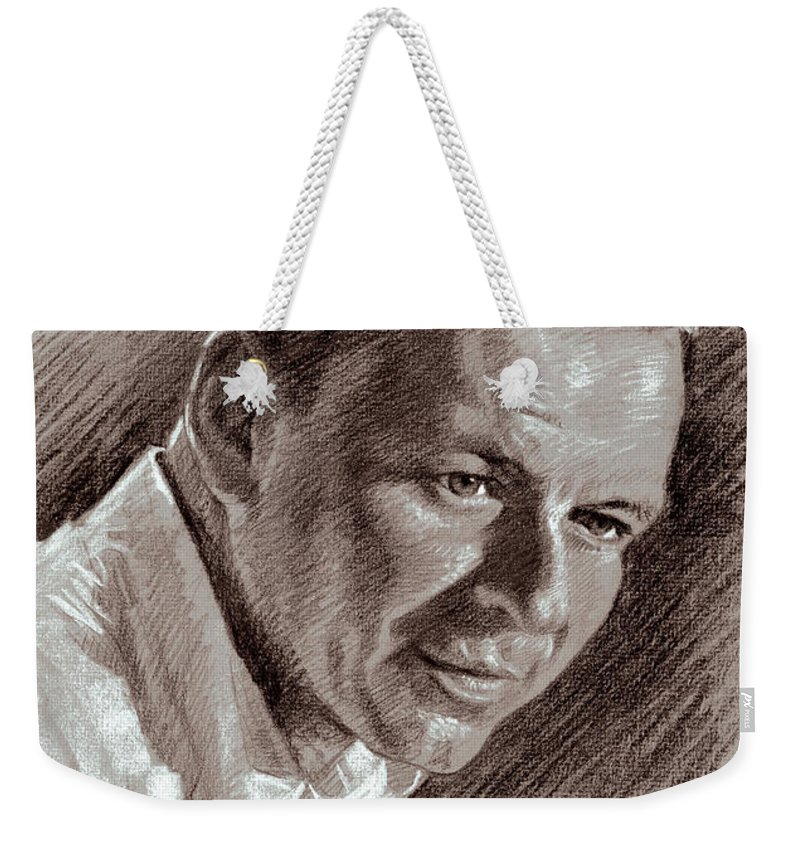 Frank Sinatra Weekender Tote Bag featuring the drawing Frank Sinatra by Ylli Haruni