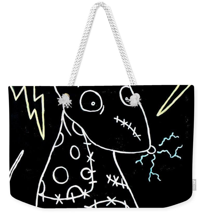 Halloween Weekender Tote Bag featuring the painting Frankenweenie Sparky Uv by Marisela Mungia