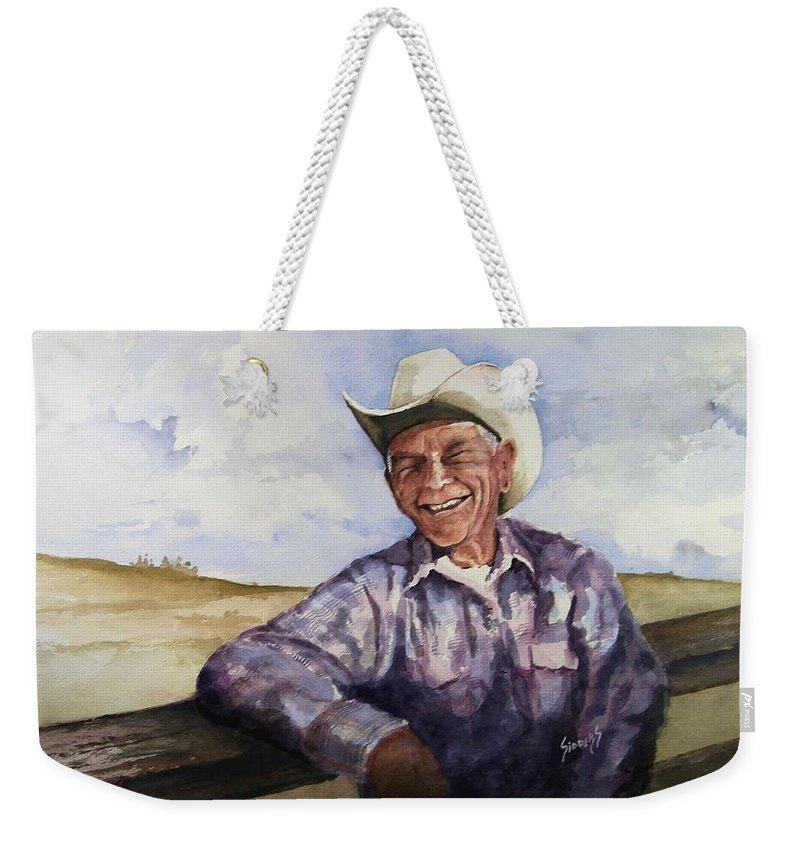 Cowboy Smile Friendly Happy Texan Texas Music Fiddler Weekender Tote Bag featuring the painting Frankie by Sam Sidders