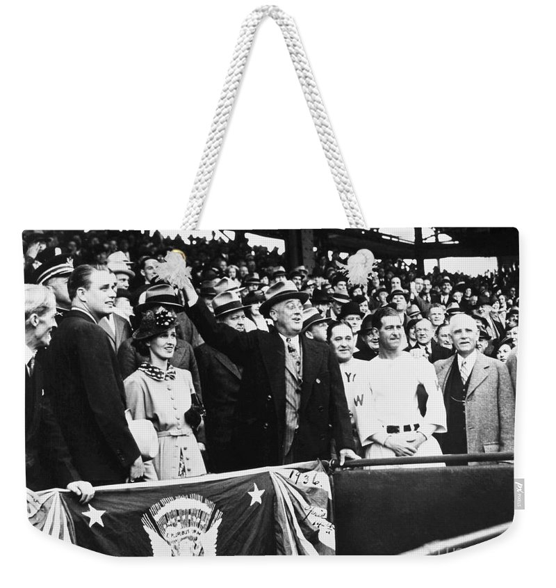 1936 Weekender Tote Bag featuring the photograph Franklin D. Roosevelt by Granger