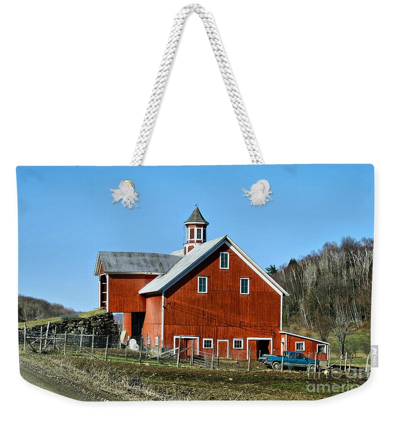 Barn Weekender Tote Bag featuring the photograph Franklin Spring Barn by Deborah Benoit