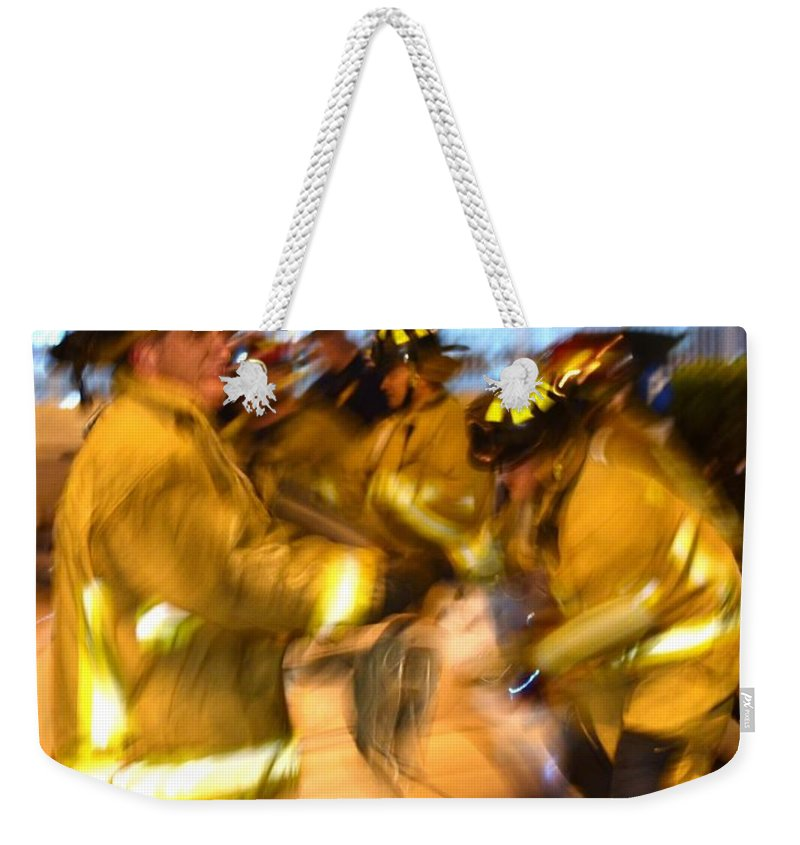 Firefighters Weekender Tote Bag featuring the photograph Frantic Rescue by Rene Triay Photography