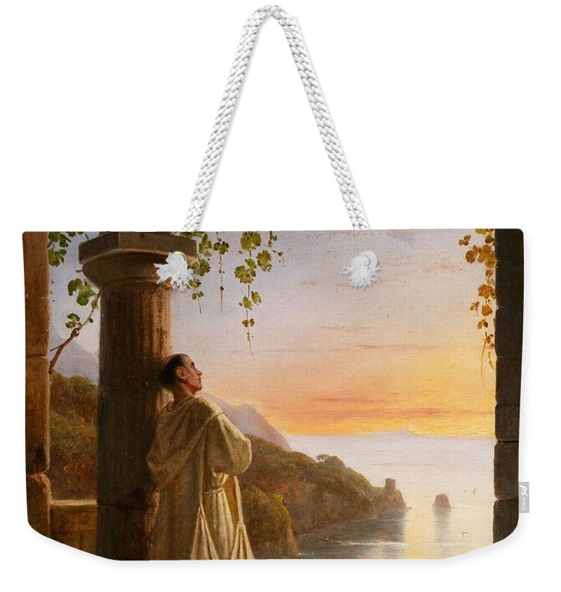 Nature Weekender Tote Bag featuring the painting Franz Ludwig Catel A Monk Meditating In A Cloister by Franz Ludwig Catel