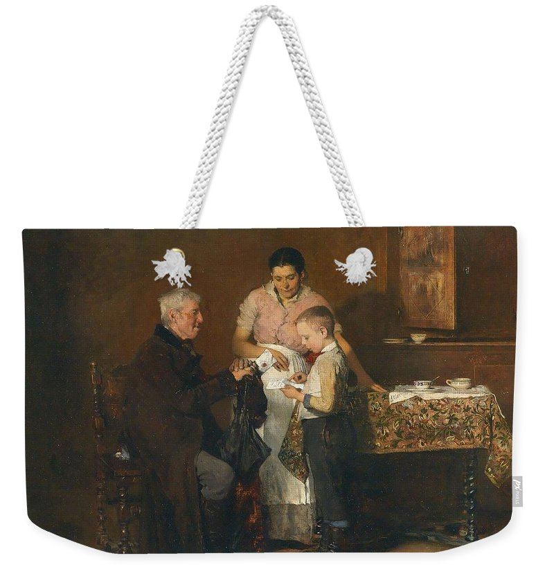 Man Weekender Tote Bag featuring the painting Franz Rumpler The Letter 1882 by Franz Rumpler