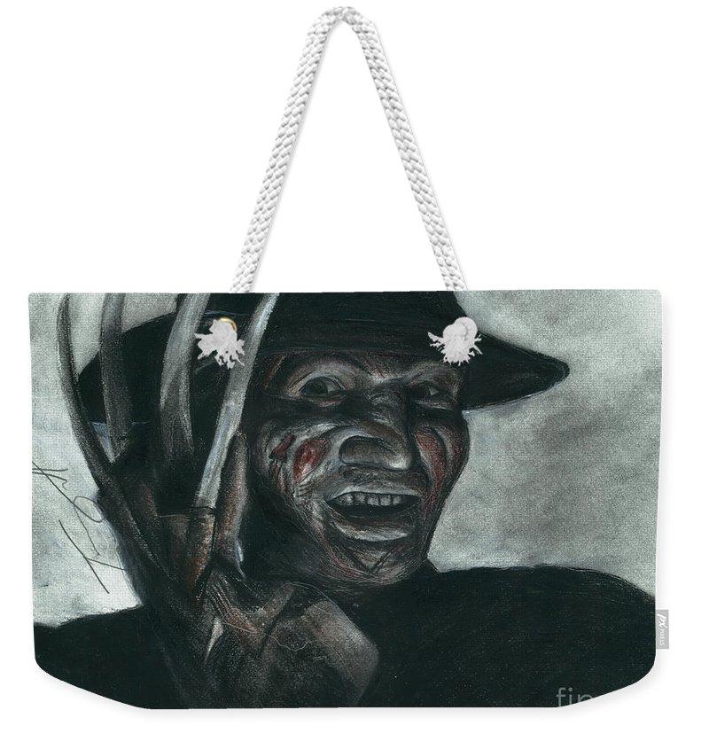 Freddy Krueger Weekender Tote Bag featuring the drawing Freddy Krueger by Tony Orcutt
