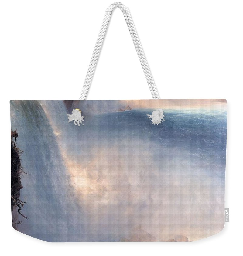 Nature Weekender Tote Bag featuring the painting Frederic Edwin Church Niagara Falls American Side  1867 by Frederic Edwin Church
