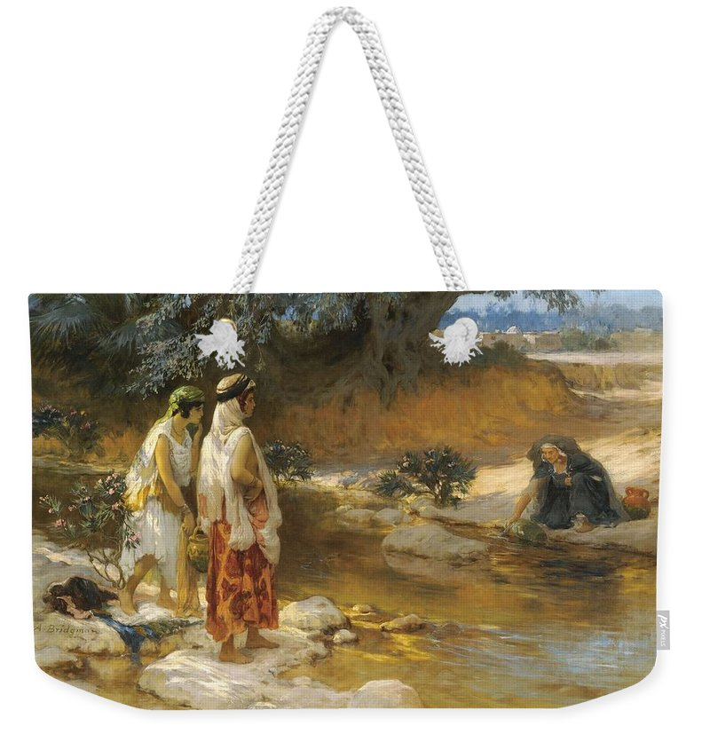 Nature Weekender Tote Bag featuring the painting Frederick Arthur Bridgman 1847  1928 American At The Water S Edge by Frederick Arthur Bridgman