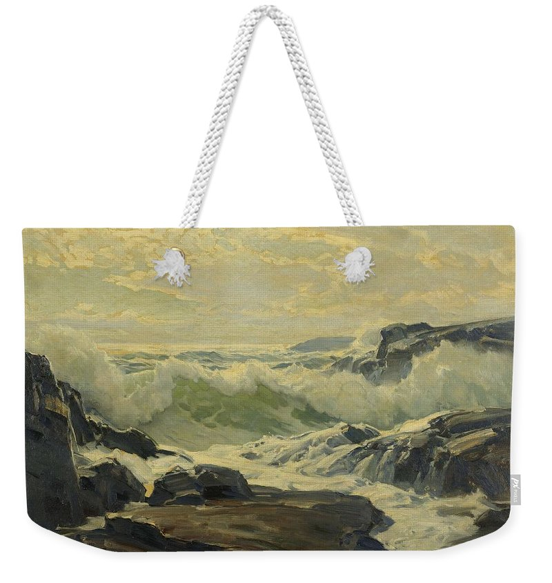 Nature Weekender Tote Bag featuring the painting Frederick Judd Waugh 1861  1940 Coast Of Maine by Frederick Judd Waugh