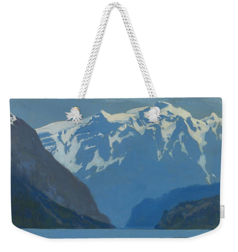 Art Weekender Tote Bag featuring the painting Frederick Judd Waugh American 1861 1940 Northwest Coast by Frederick Judd Waugh