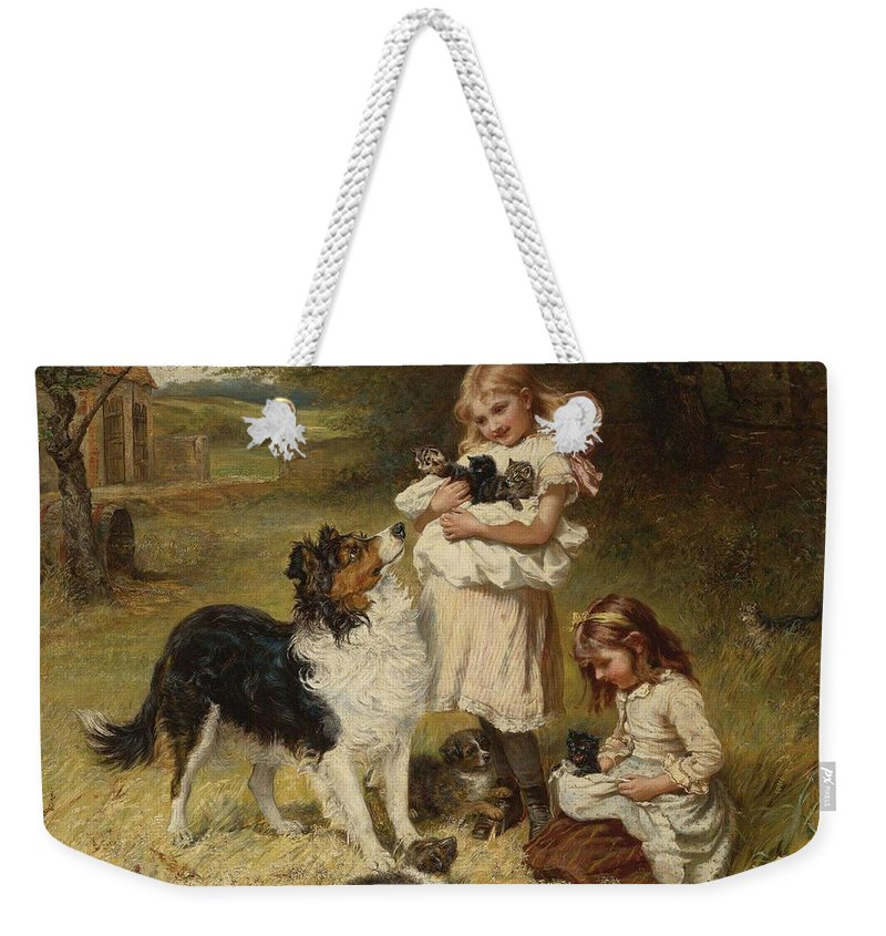 Girl Weekender Tote Bag featuring the painting Frederick Morgan R O I British 1847 1927 And Allen Culpepper Sealy British 1850 1927 Rival Fa by Frederick Morgan