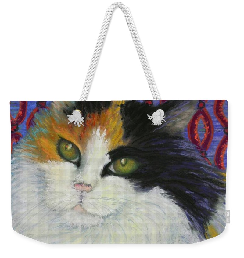 Cat Weekender Tote Bag featuring the painting Fred's Cat by Minaz Jantz