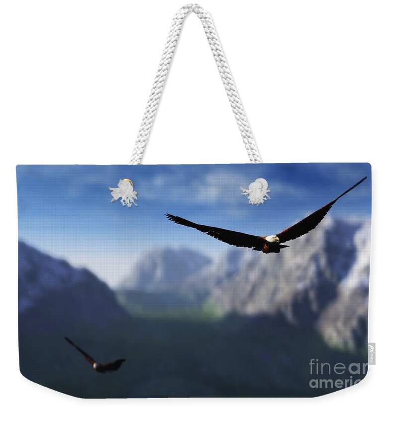 Eagles Weekender Tote Bag featuring the digital art Free Bird by Richard Rizzo