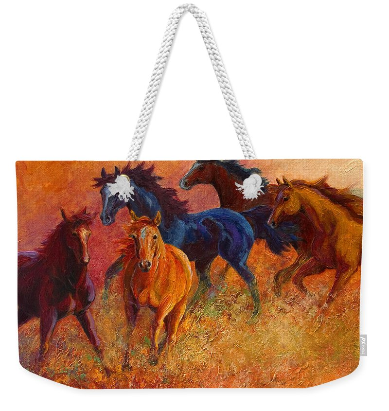 Horses Weekender Tote Bag featuring the painting Free Range - Wild Horses by Marion Rose
