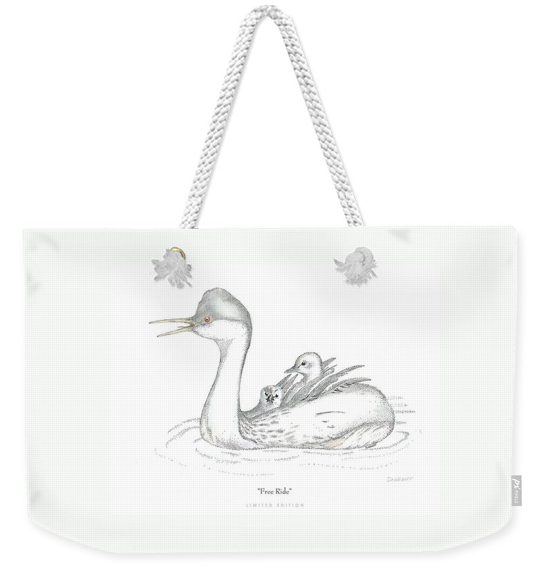 Grebe Weekender Tote Bag featuring the drawing Free Ride by David Weaver