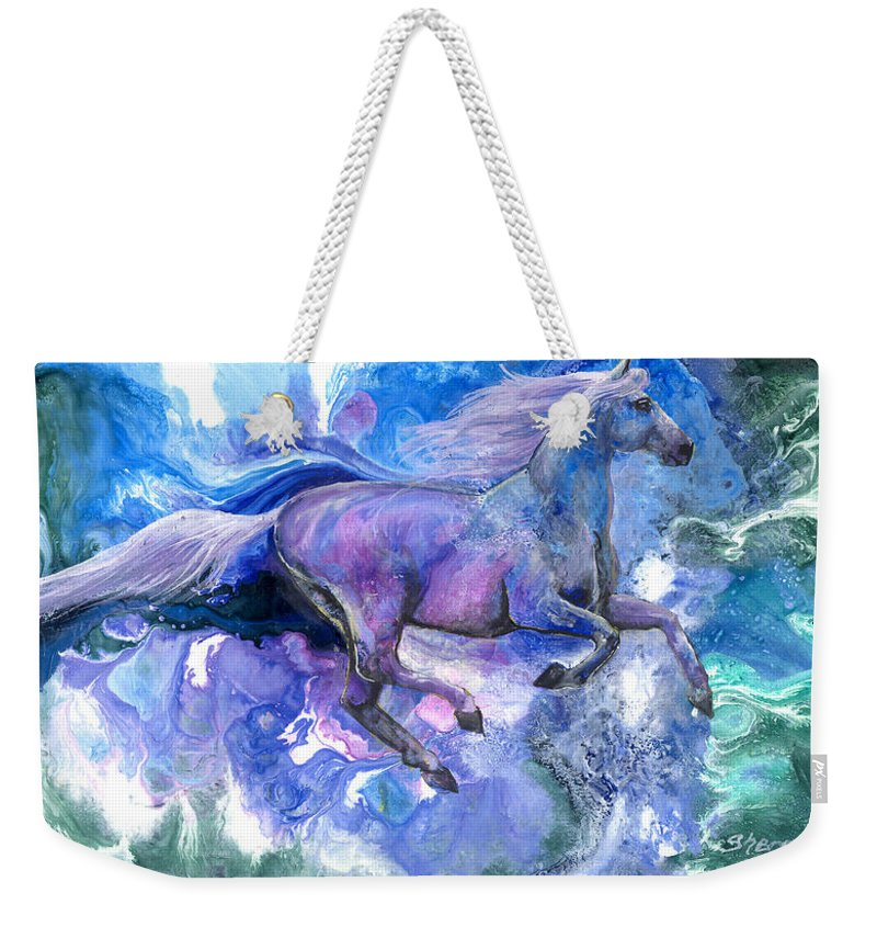 Horse Weekender Tote Bag featuring the painting Free Spirit by Sherry Shipley