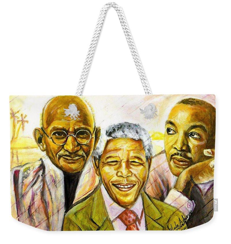 Portrait Paintings Weekender Tote Bag featuring the painting Freedom Hero by Wale Adeoye