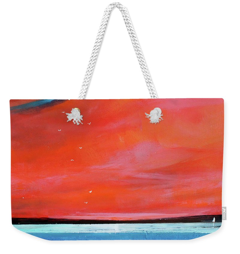Red Weekender Tote Bag featuring the painting Freedom Journey by Toni Grote