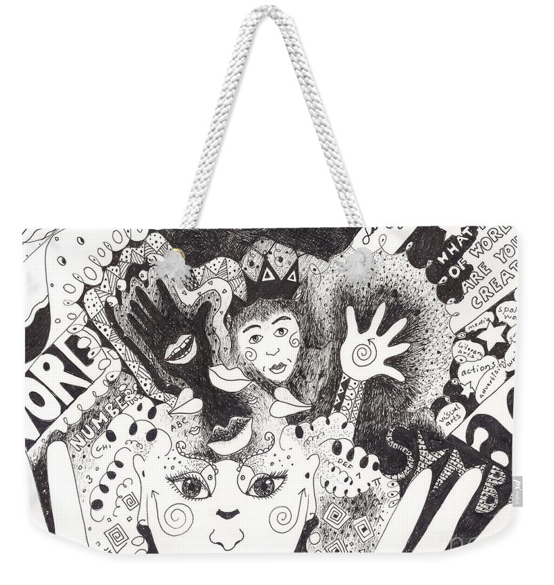 Speech Weekender Tote Bag featuring the drawing Freedom Of Speech by Helena Tiainen