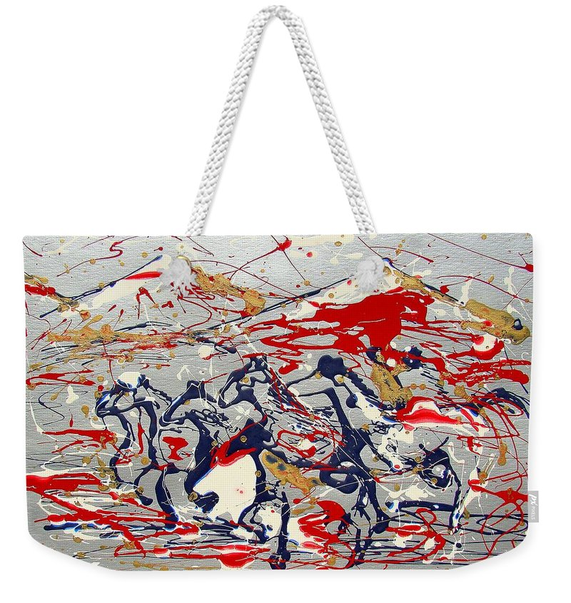 Freedom On The Open Range Weekender Tote Bag featuring the painting Freedom On The Open Range by J R Seymour