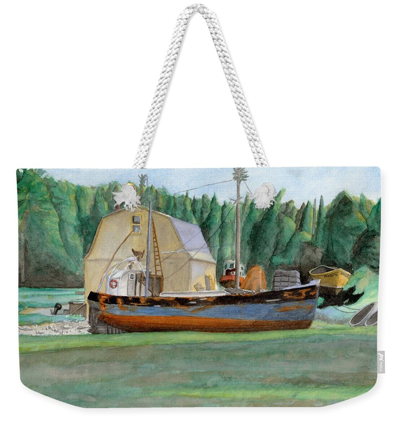 Fishing Boat Weekender Tote Bag featuring the painting Freeport Fishing Boat by Dominic White