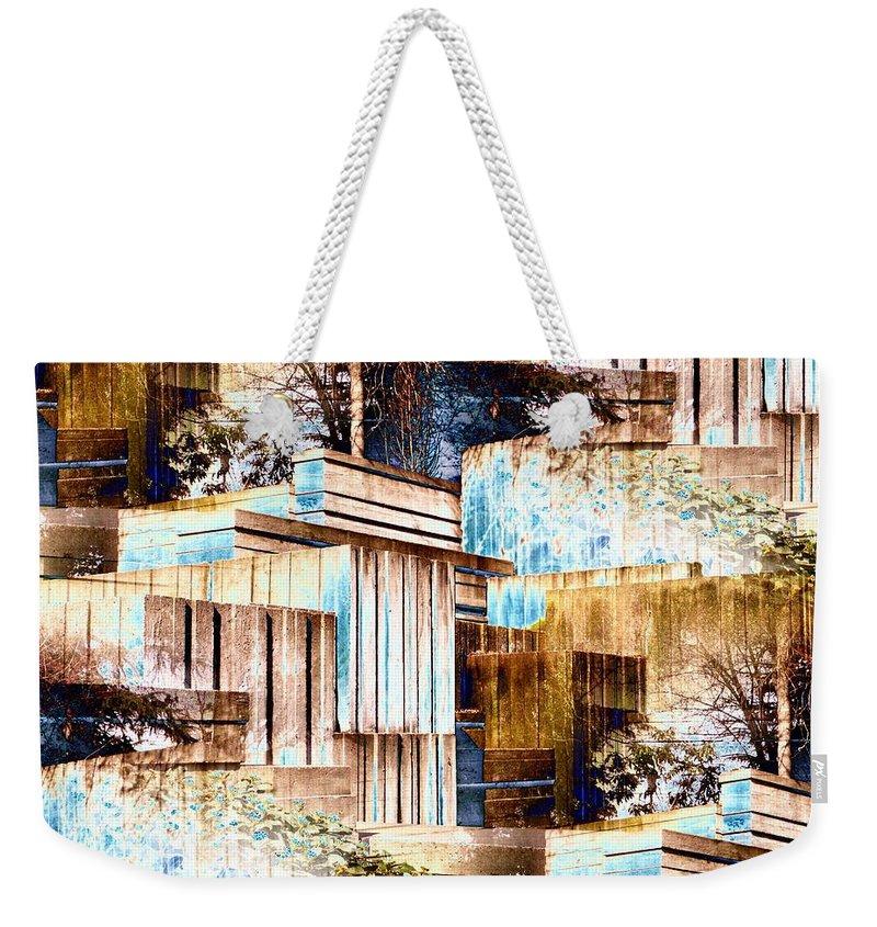 Seattle Weekender Tote Bag featuring the digital art Freeway Park by Tim Allen