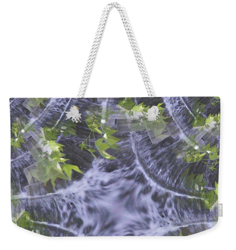 Seattle Weekender Tote Bag featuring the digital art Freeway Park Waterfall 2 by Tim Allen