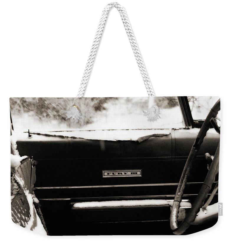 Car Weekender Tote Bag featuring the photograph Freezing Fury by Marilyn Hunt