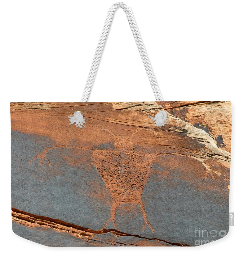Petroglyph Weekender Tote Bag featuring the photograph Fremont Man by David Lee Thompson