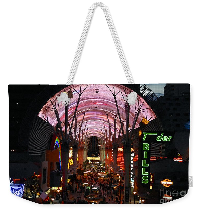 Fremont Street Weekender Tote Bag featuring the photograph Fremont Street by David Lee Thompson
