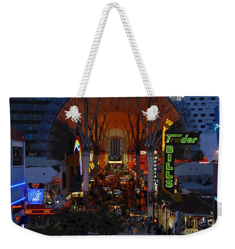 Art Weekender Tote Bag featuring the painting Fremont Street Nevada by David Lee Thompson