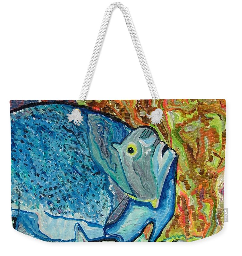 French Weekender Tote Bag featuring the painting French Angle Fish by Heather Lennox