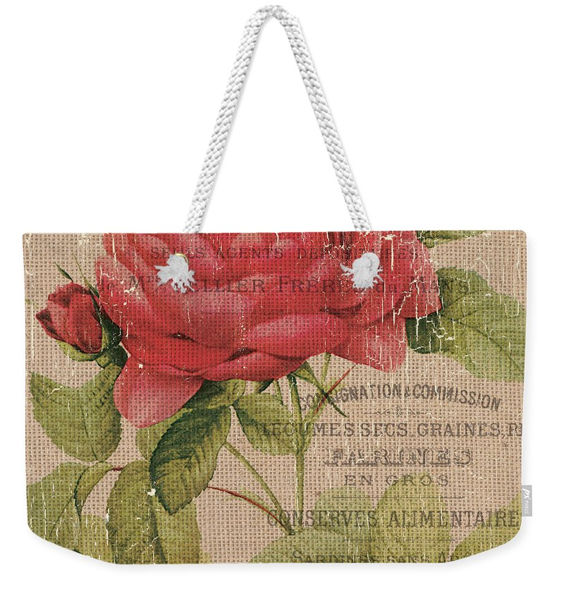 Floral Weekender Tote Bag featuring the painting French Burlap Floral 1 by Debbie DeWitt