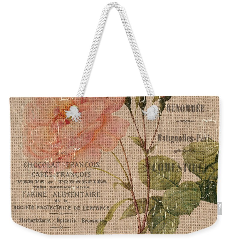 Floral Weekender Tote Bag featuring the painting French Burlap Floral 4 by Debbie DeWitt